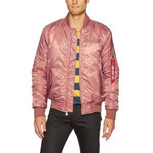 Men's Pink Nylon Bomber Jacket